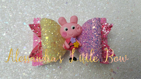 "Peppa Pig Clay Bow 3.25"" - AlessandrasLittleBow"