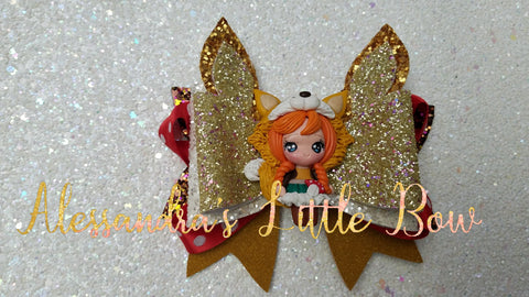 "Foxy Girl Clay Bow 4"" - AlessandrasLittleBow"