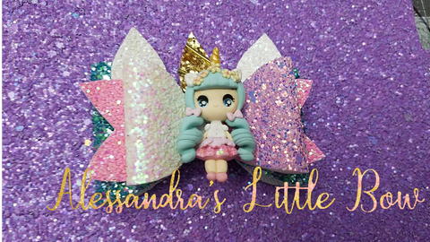 "Blue Hair Unicorn Girl Clay Bow 3.25"" - AlessandrasLittleBow"