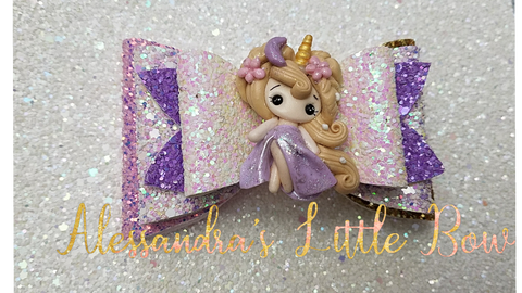 "Lavender  Unicorn Princess Clay Bow 4"" - AlessandrasLittleBow"