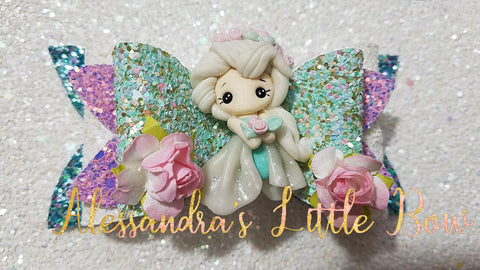 "Elsa Christmas Princess Clay Bow 4"" - AlessandrasLittleBow"