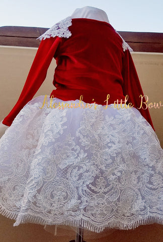 Red Velvet and lace dress - AlessandrasLittleBow
