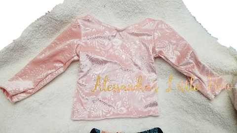 Light Pink Velvet Top - AlessandrasLittleBow
