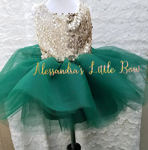 Milani Romper in Hunter Green and gold sequins - AlessandrasLittleBow