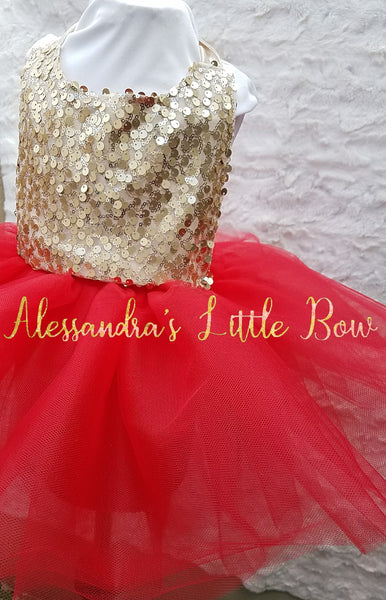 Milani Romper in Red and gold sequins - AlessandrasLittleBow