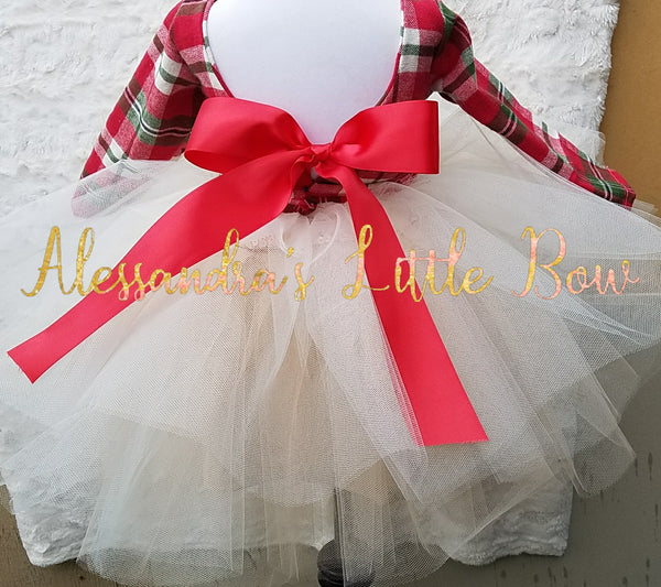 Princess Couture dress in Christmas Plaid - AlessandrasLittleBow
