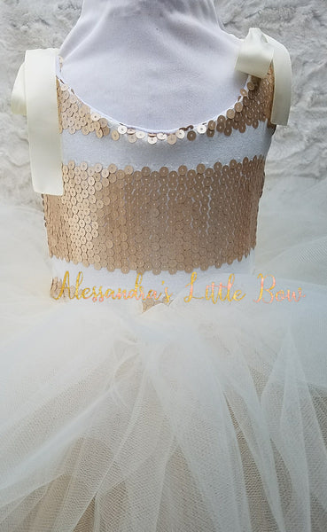Stacey Dress in Ivory and Light Gold sequins - AlessandrasLittleBow