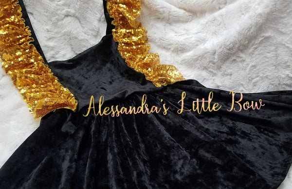 Black Velvet and gold sequin Pinafore dress - AlessandrasLittleBow