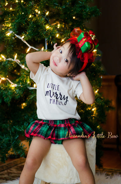 Christmas Plaid Skirted Bloomers - AlessandrasLittleBow