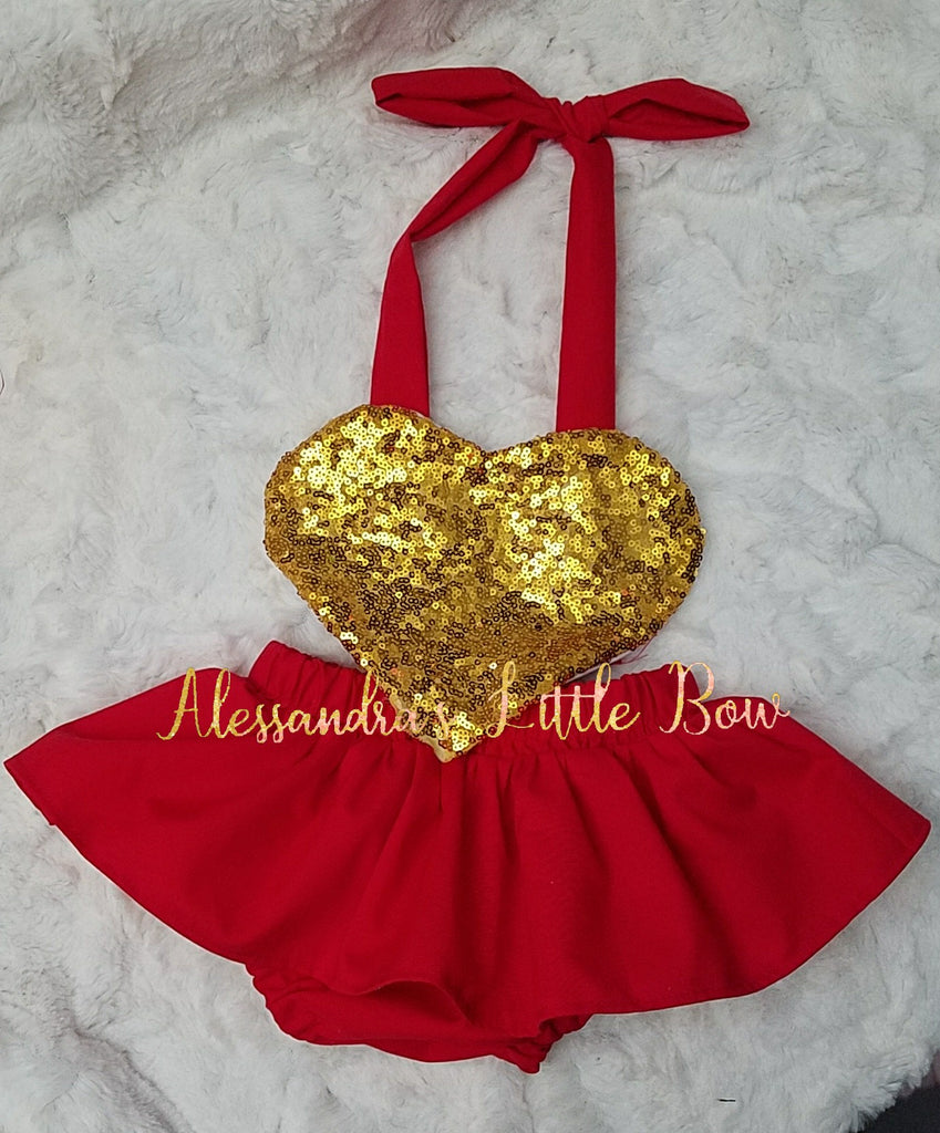 Valentine' Romper in Red and gold - AlessandrasLittleBow