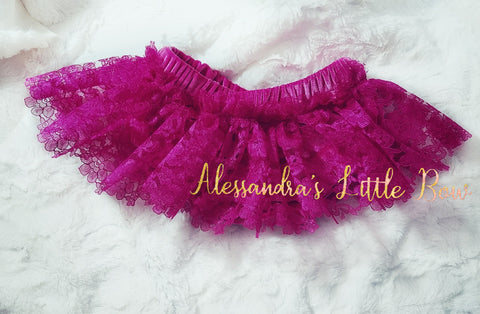 Hot Velvet and Fuschia Lace Skirted Bloomers - AlessandrasLittleBow
