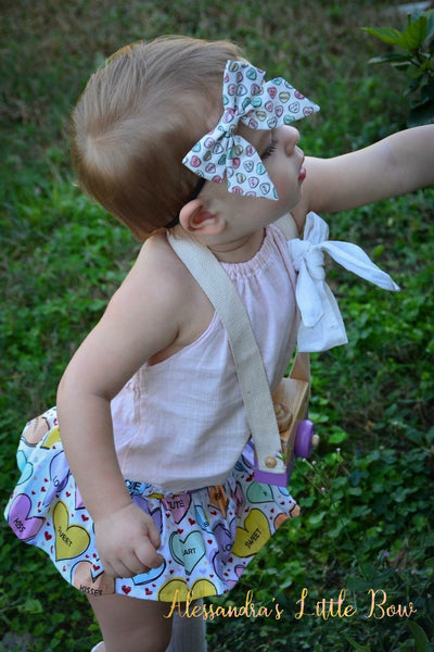 Sweet Candy Hearts Skirted Bloomers - AlessandrasLittleBow
