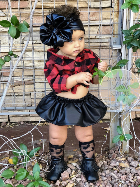 Faux Leather Skirted Bloomers - AlessandrasLittleBow