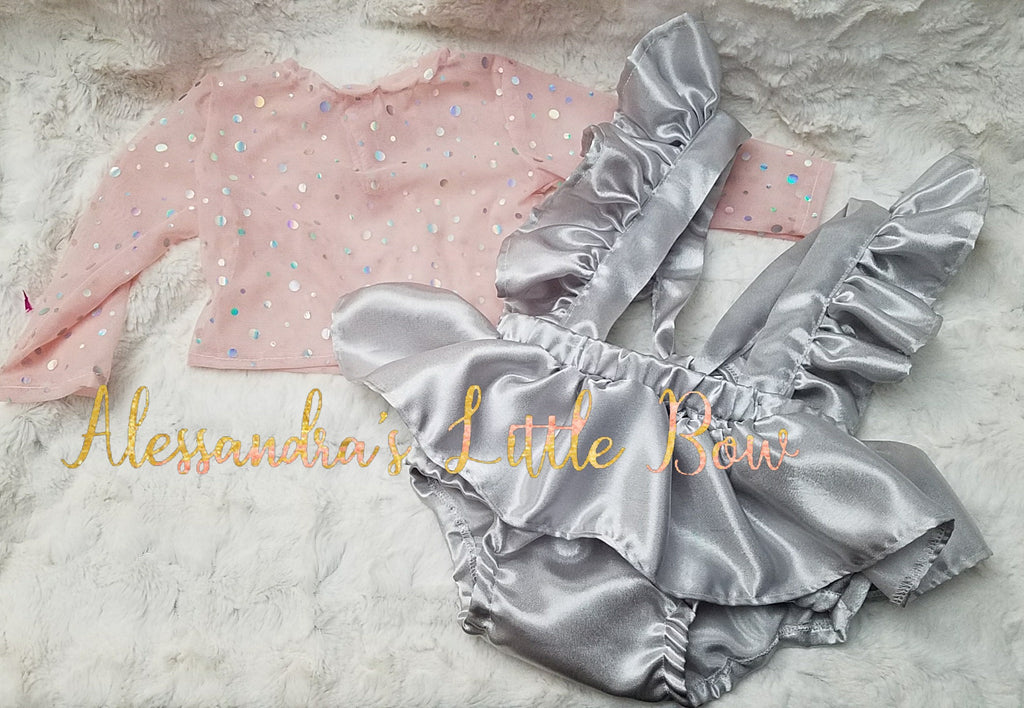 Silver Shimmer Skirted Bloomers with Ruffle Suspenders