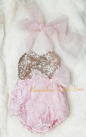 Pink and Light Gold Rosette romper - AlessandrasLittleBow
