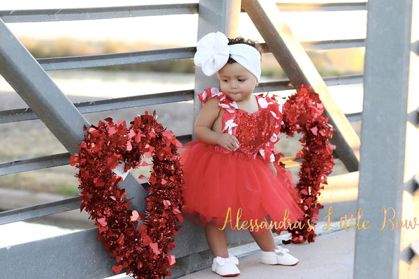 Red Heart Polka dots tutu dress - AlessandrasLittleBow