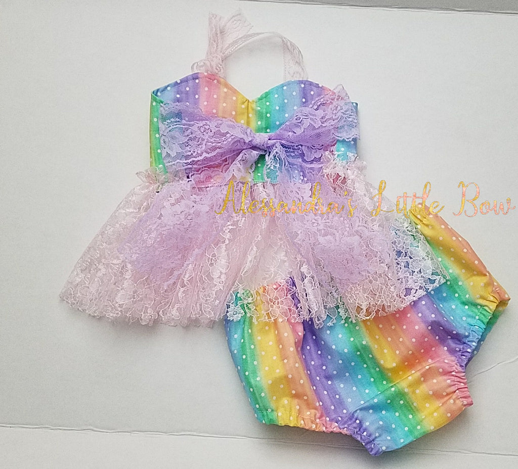 Rainbow Dots Sweetheart Lace Swing Set - AlessandrasLittleBow