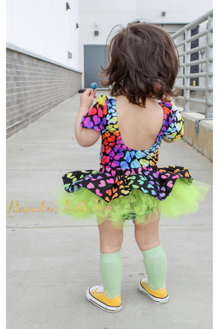 Rainbow Hearts Tutu Skirted Bloomers - AlessandrasLittleBow