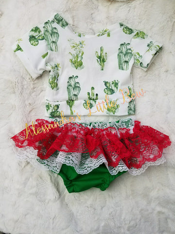 Cactus Outfit with red Lace skirted bloomers - AlessandrasLittleBow