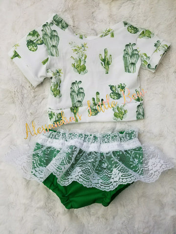Cactus Outfit with white Lace skirted bloomers - AlessandrasLittleBow