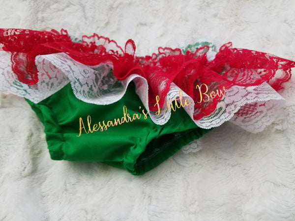 Red, Green and White Lace Skirted Bloomers - AlessandrasLittleBow