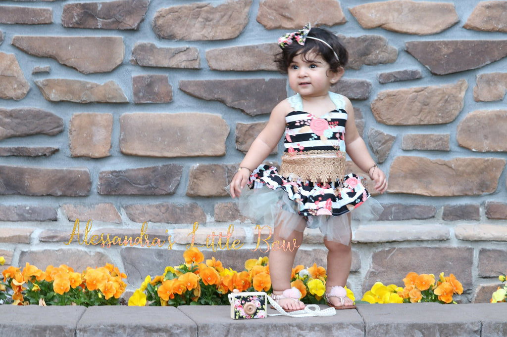Stripped Floral Cropped top and TUTU Skirted bloomers set