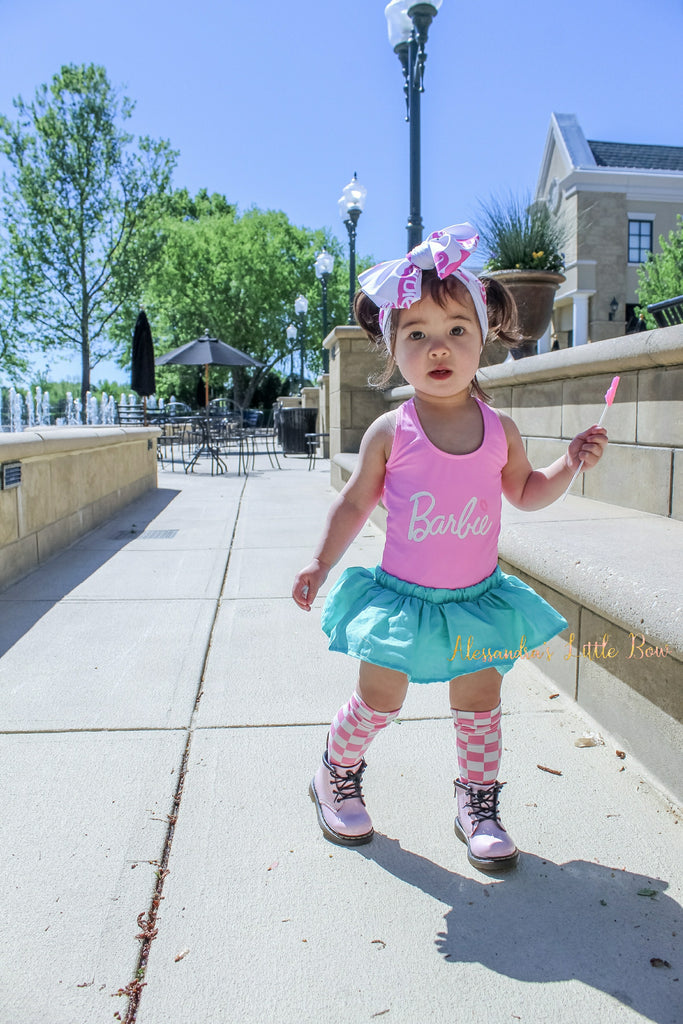 Aqua skirted bloomers - AlessandrasLittleBow