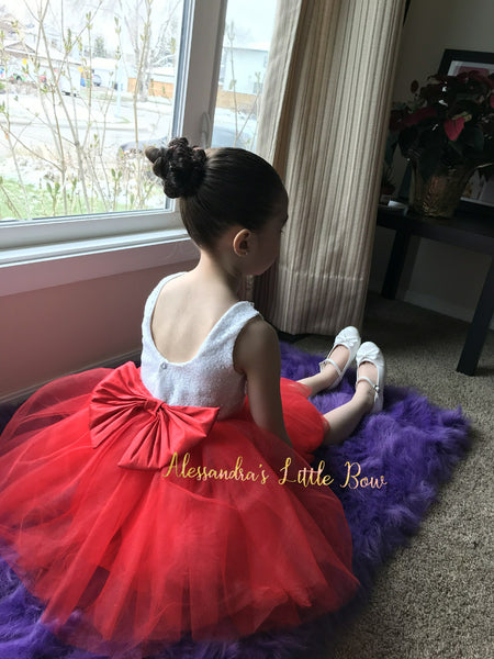 Princess dress in Red and White - AlessandrasLittleBow