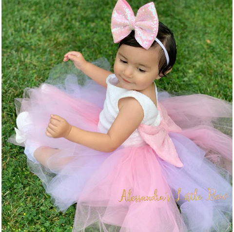 Princess dress in Pink and Lavender - AlessandrasLittleBow