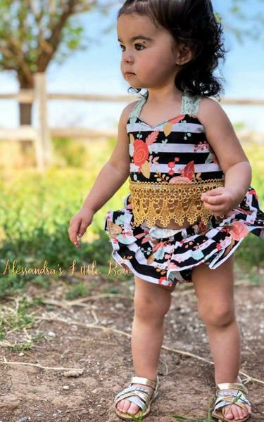 Stripped Floral Cropped top and skirted bloomers set - AlessandrasLittleBow