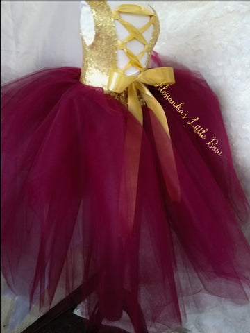 Princess Natalie High Low Couture Dress in Burgandy and Gold - AlessandrasLittleBow