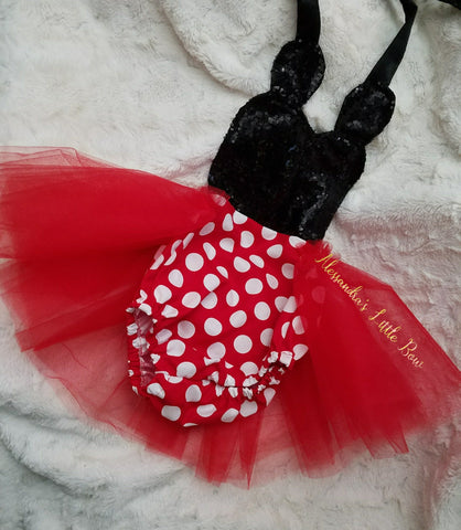 Red Minnie Mouse sequin Romper - AlessandrasLittleBow