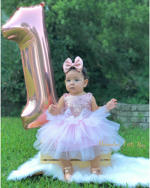 3 tier Glam dress in Rose Gold and Pink - AlessandrasLittleBow