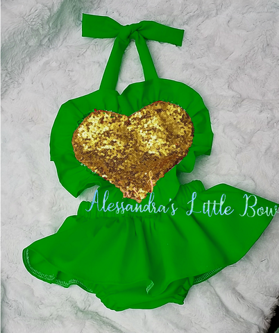 Green and Gold heart Ruffle Romper - AlessandrasLittleBow