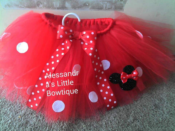 my signature glitter minnie mouse tutu in red minnie mouse birthday tutu - AlessandrasLittleBow - Tutus - Alessandras Little Bow -  -  -  - 2