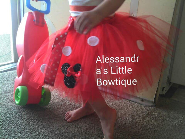 my signature glitter minnie mouse tutu in red minnie mouse birthday tutu - AlessandrasLittleBow - Tutus - Alessandras Little Bow -  -  -  - 1
