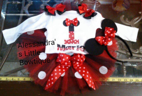 Red and black Minnie mouse birthday outfit - AlessandrasLittleBow