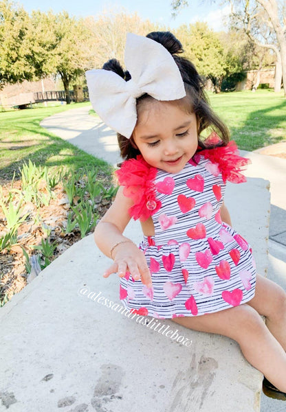 Stripped Hearts Skirted Romper with flutter sleeves - AlessandrasLittleBow