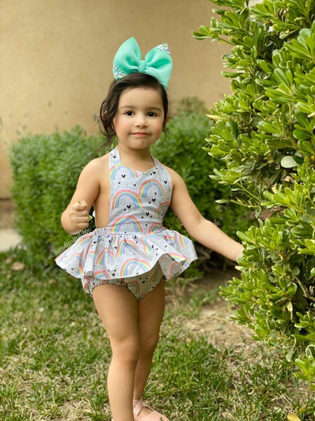 Grey Pastel Rainbows Skirted Romper - AlessandrasLittleBow
