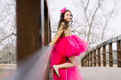 High Low Princess Couture Dress in Hot Pink and Gold - AlessandrasLittleBow