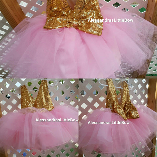 The Princess dress in pink and gold knee lenght - AlessandrasLittleBow - Sequin dress - children's boutique  -  -  -  - 2