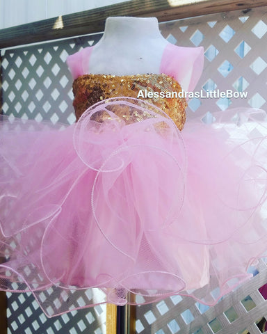 pink and gold cupcake dress - AlessandrasLittleBow - Sequin dress - children's boutique  -  -  -  - 1