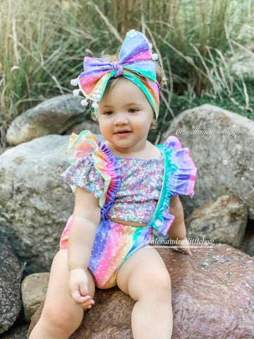 Rainbow Dots Ruffle Suspender Bloomers