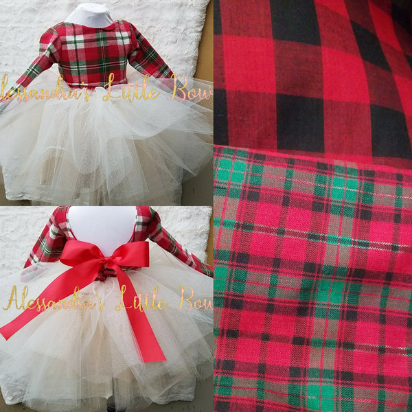 Choose your color - Princess Couture dress in Christmas Plaid