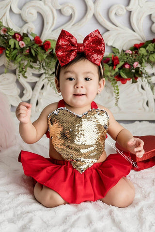 Love Skirted Romper in Red - AlessandrasLittleBow