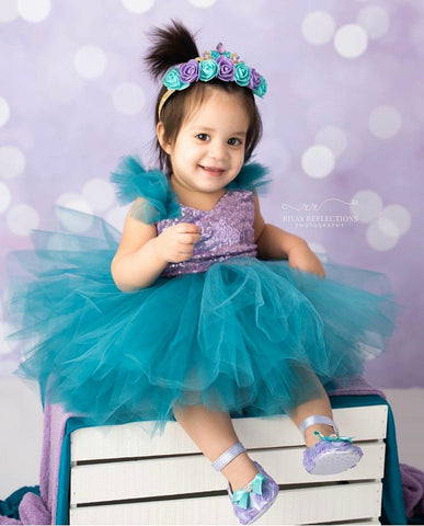 Ariella Couture dress lavender and teal - AlessandrasLittleBow