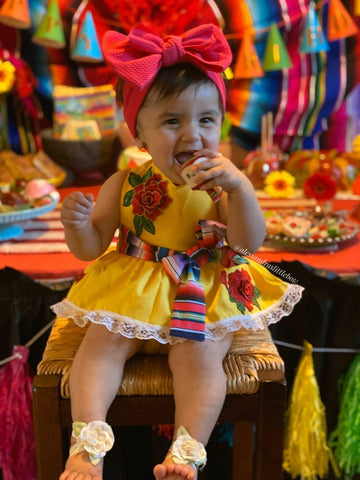 Rosa Traditional Fiesta Romper in Yellow - AlessandrasLittleBow