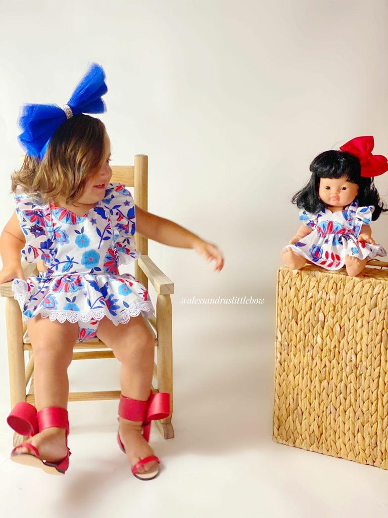 Minikane Blue and Red Floral Romper