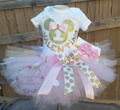 Light Pink and gold Minnie mouse  Birthday Outfit - AlessandrasLittleBow