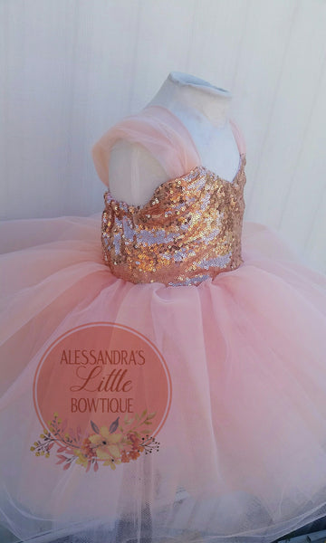 Heidi Couture dress in rose gold and peach - AlessandrasLittleBow